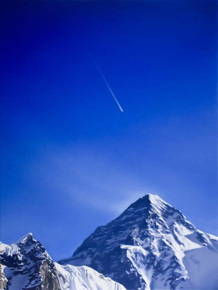 Falling star over mountain by Tony Lloyd