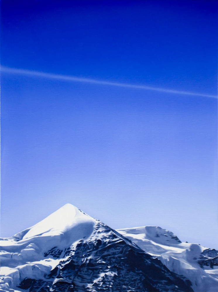 The Jungfrau with contrail by Tony Lloyd