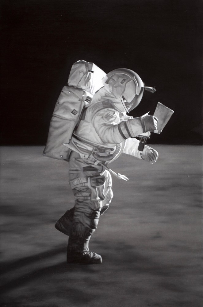 Edgar Mitchell studying his map.II by Tony Lloyd